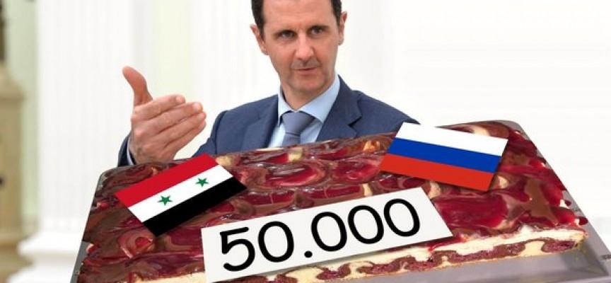 Assad fejrer klyngebombe nummer 50.000 med kage