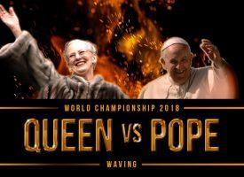 Episk battle: Dronningen møder pave Frans i VM-finalen i vink