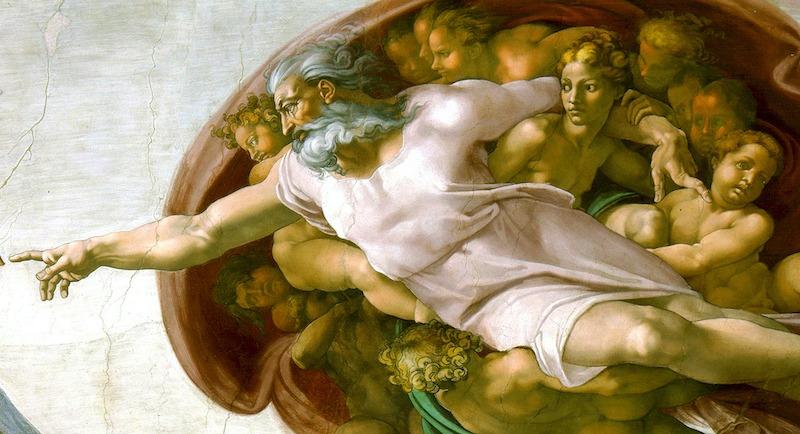 Illustration: Michelangelo, Adams skabelse, udsnit